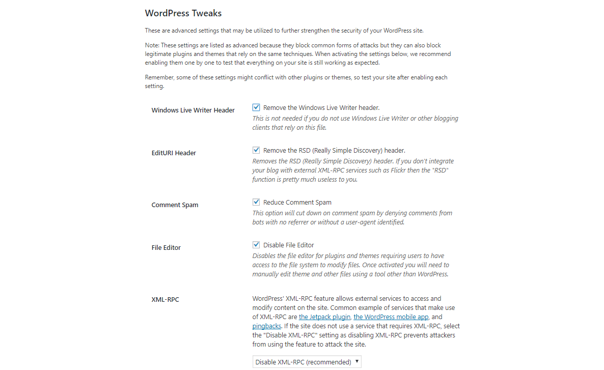 ithemes wp tweaks