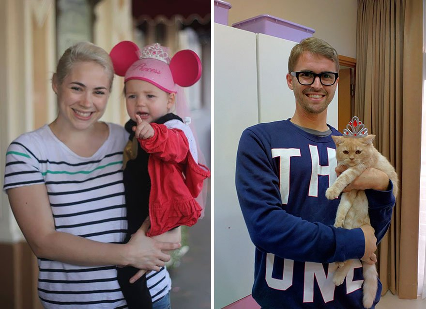 Single Guy Recreates His Twin Sister's Baby Photos Using A Cat 1