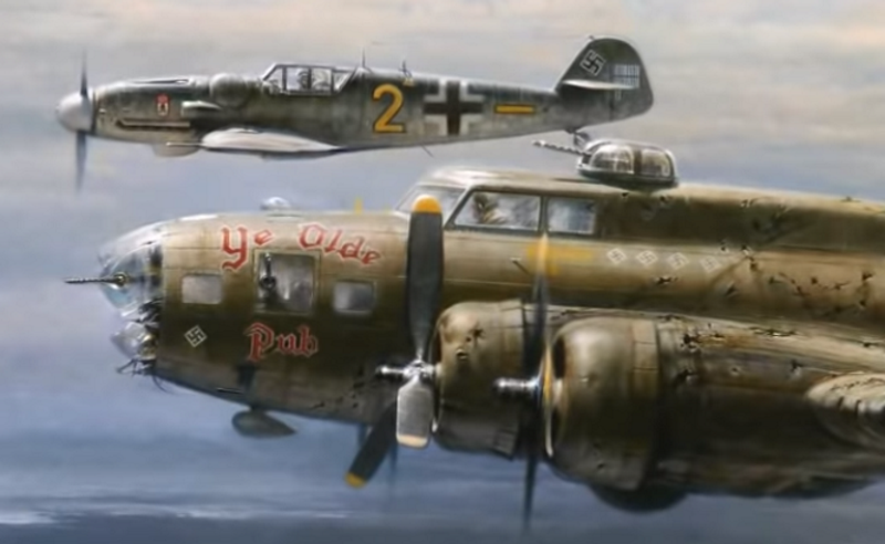 WW2 German Ace Escorts Crippled B-17 Home