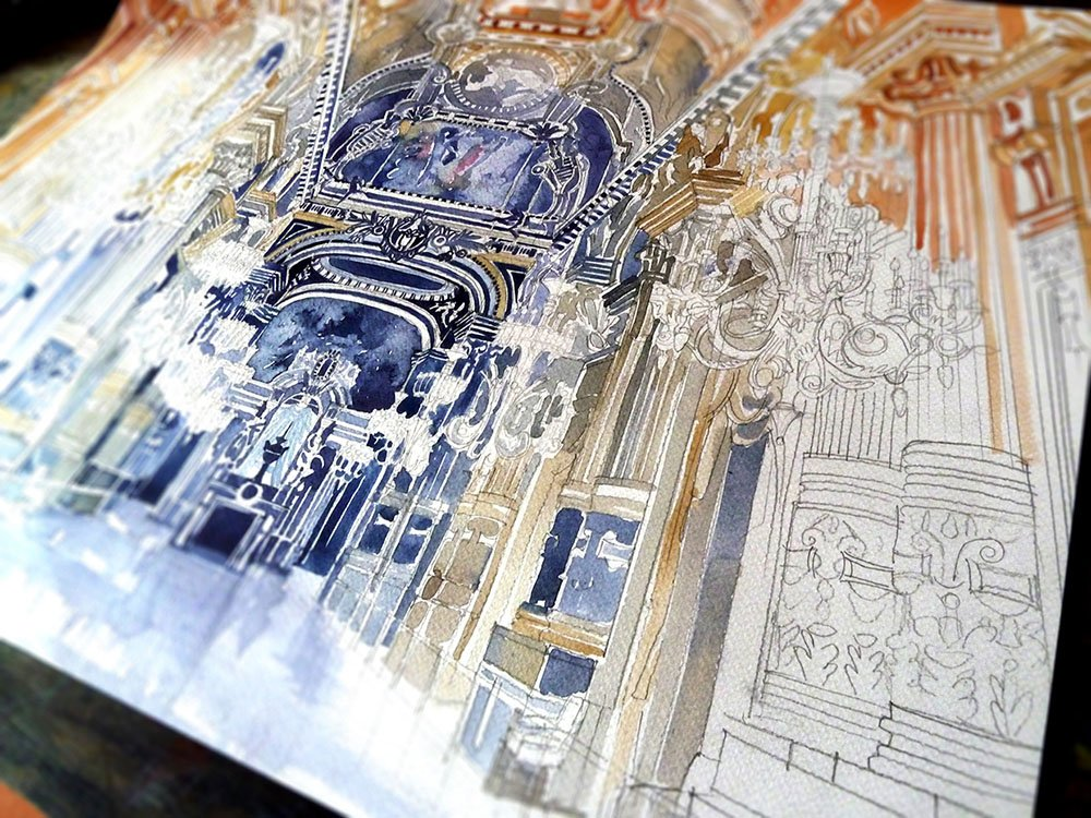 Colorful New Architectural Watercolors