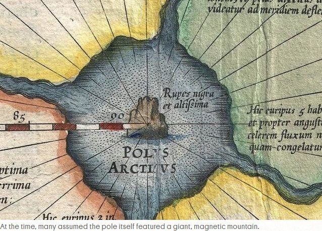 northpole At the time, many assumed the pole itself featured a giant, magnetic mountain