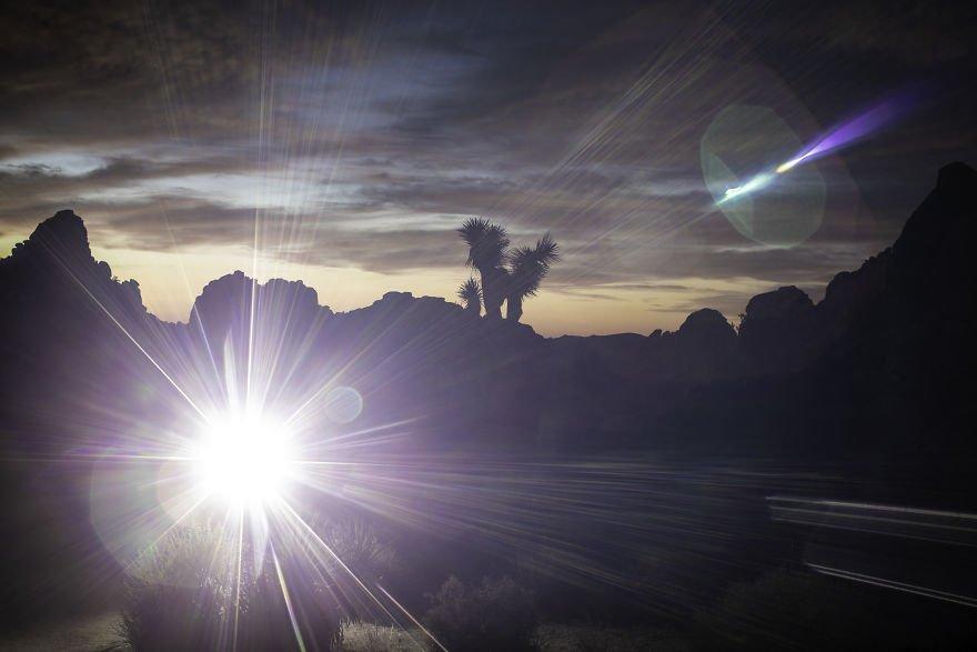 Burst Of Light Shines Into The Camera Lens