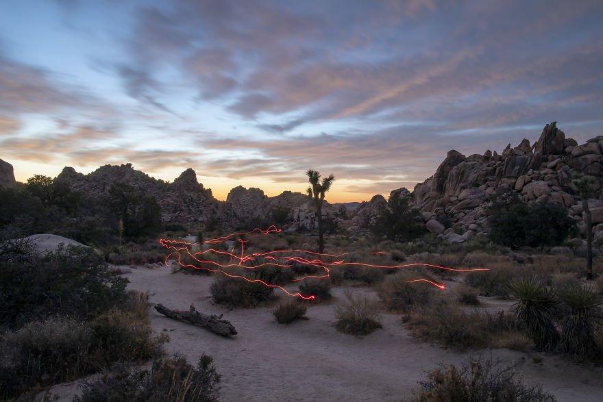 Light Trails In The Desert
