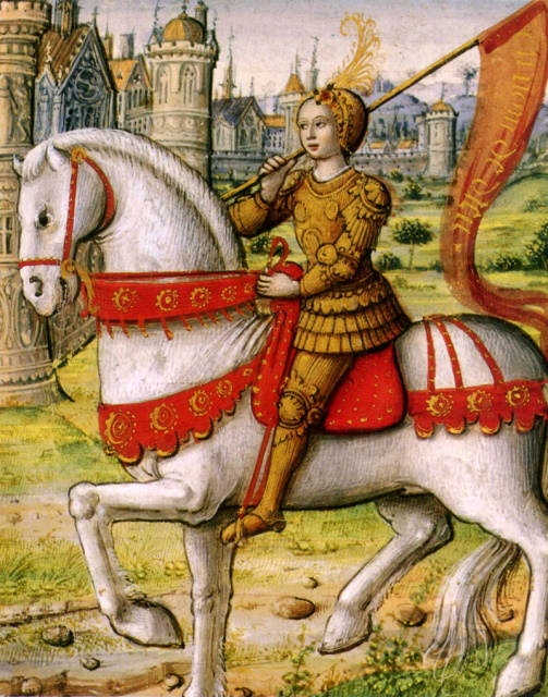 Joan of Arc depicted on horseback in an illustration from a 1504 manuscript.