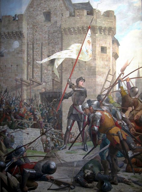 Joan of Arc at the Siege of Orléans by Jules Eugène Lenepveu, painted 1886–1890.Photo: Jules Eugène Lenepveu CC BY-SA 2.5