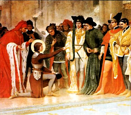 """Joan of Arc meeting Carles VII of France """"Very illustrious Lord Dauphin, I am come, being sent on the part of God, to give succour to the kingdom and to you."""" Joan of Arc's first words to Charles VII"""